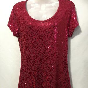 Women's Red Sequence Top Size S